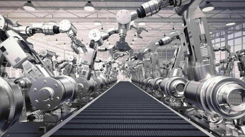 manufacturing assembly line of arm robots